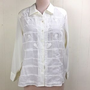 NWT Karen Scott Ivory Floral Embroidered Blouse 3X